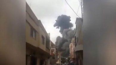 صورة انفجار مستودع أسلحة لحزب الله جنوب لبنان