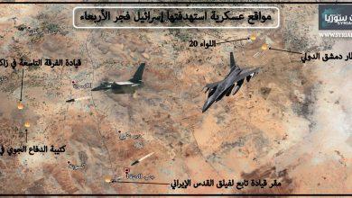 صورة مواقع عسكرية استهدفتها إسرائيل فجر الأربعاء