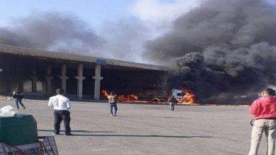 صورة انفجار شاحنة في معبر نصيب بدرعا