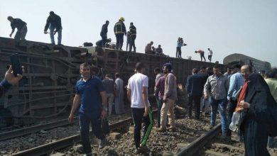 صورة قتلى وجرحى في حادث خروج قطار عن القضبان في القاهرة