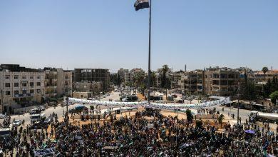 صورة الشمال السوري يخرج بمظاهرات حاشدة رفضاً لانتخابات الأسد