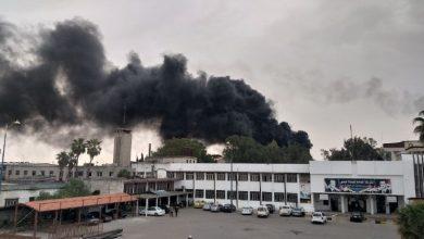 صورة حريق في مصفاة حمص للنفط وسط سوريا