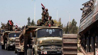 صورة تعزيزات عسكرية باتجاه مدينة جاسم بدرعا
