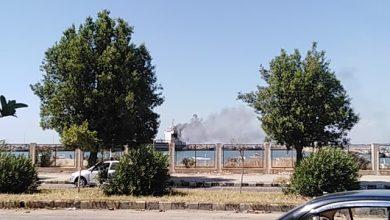 """صورة احتراق سفينة """"طورت"""" محلياً في ميناء بانياس"""