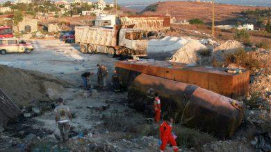 صورة عشرات القتلى والجرحى بانفجار صهريج وقود في لبنان