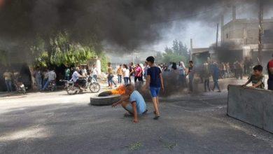 صورة اهالي طرطوس يقطعون الطرقات احتجاجا على تلوث المياه