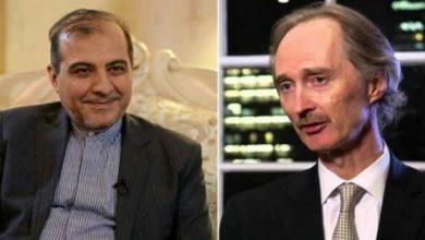 صورة مسؤول إيراني يبحث مع بيدرسون ملف اللجنة الدستورية السورية