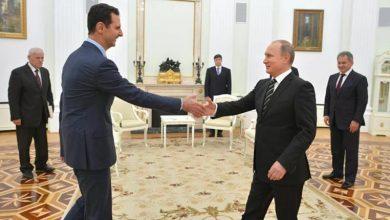 صورة بوتين يلتقي الأسد في موسكو