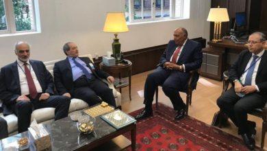 صورة لأول مرة منذ عشر سنوات.. لقاء بين وزير الخارجية السوري ونظيره المصري