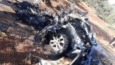 صورة طائرة مسيرة تستهدف سيارة تابعة لحراس الدين في إدلب